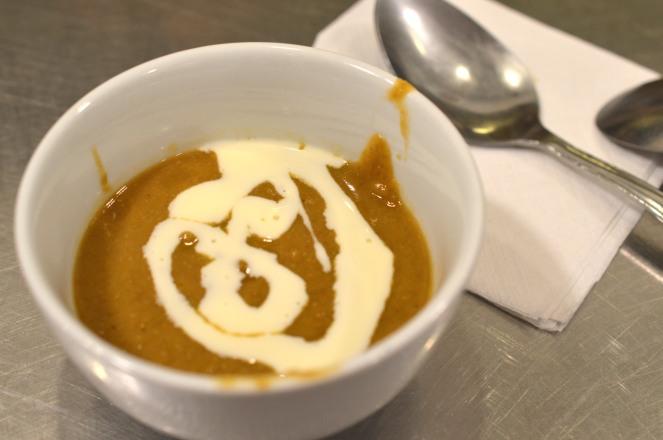 Lentil soup with crème fraîche